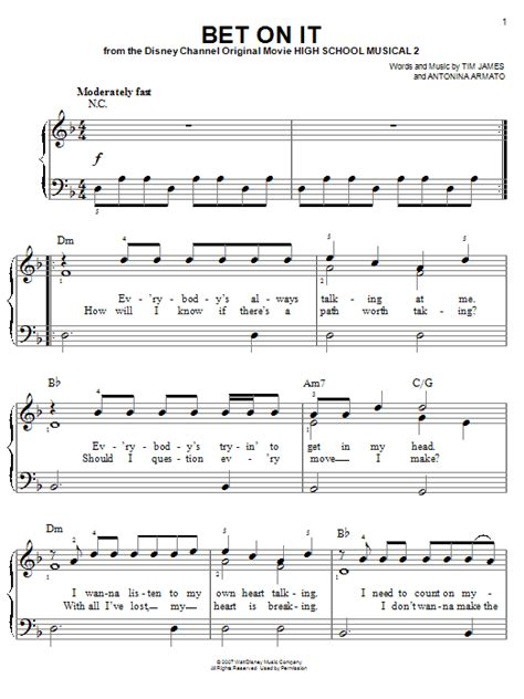 Bet On It Sheet Music | High School Musical 2 | Easy Piano