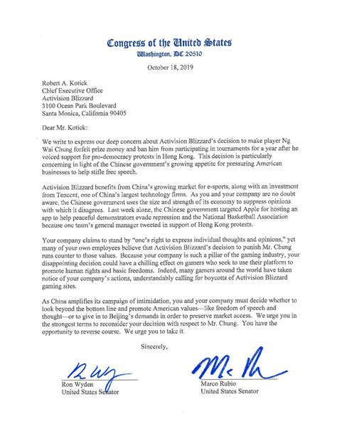 File:Wyden Letter to Activision-Blizzard on Hong Kong