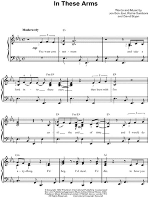 """Bon Jovi """"Bed of Roses"""" Sheet Music for Beginners in C"""