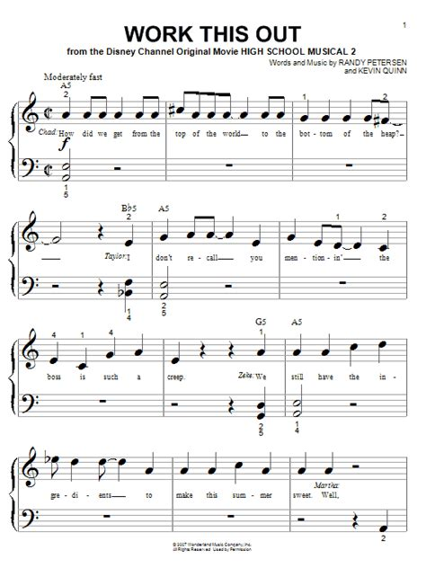 Work This Out Sheet Music | High School Musical 2 | Big