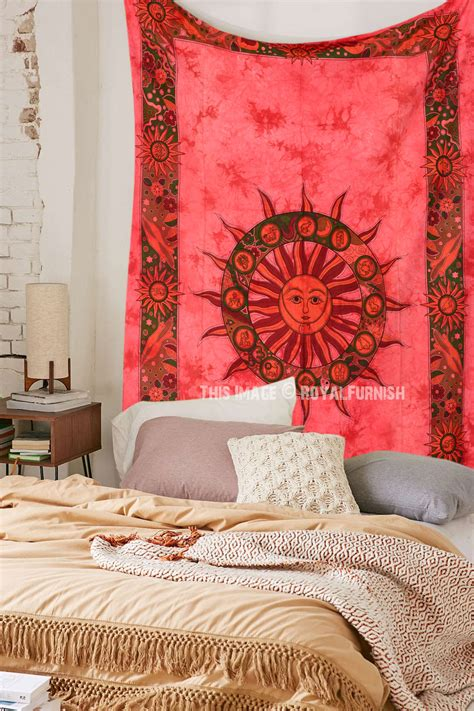 Small Red Celestial Sun Tapestry, Hippie Tie Dye Tapestry