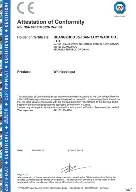 CE Issued by TUV SUD,Guangzhou J&J Sanitary Ware Co