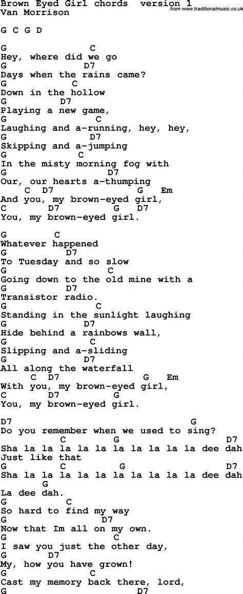 Song Lyrics with guitar chords for Brown Eyed Girl #