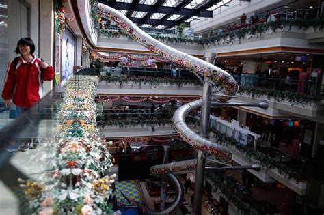 This shopping mall installed a five-story, 65-foot slide