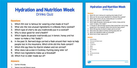 Elderly Care Hydration and Nutrition Week Drinks Quiz