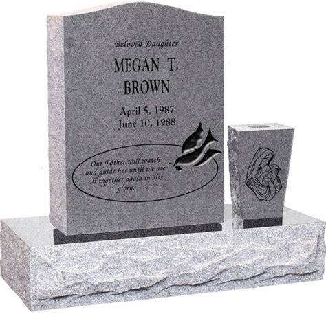 Upright Headstone Monument with Vase - Polished Top, Front