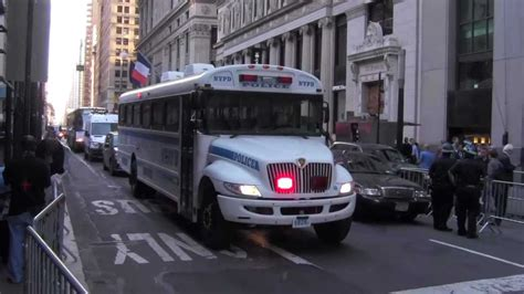 NYPD responding police bus - protest on Occupy Wall Street