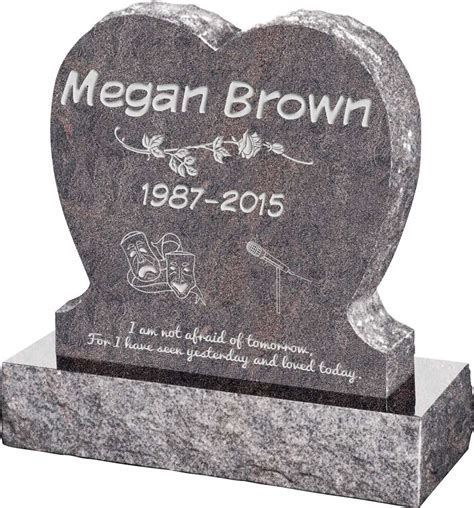 Single Heart Upright Headstone polished front and back